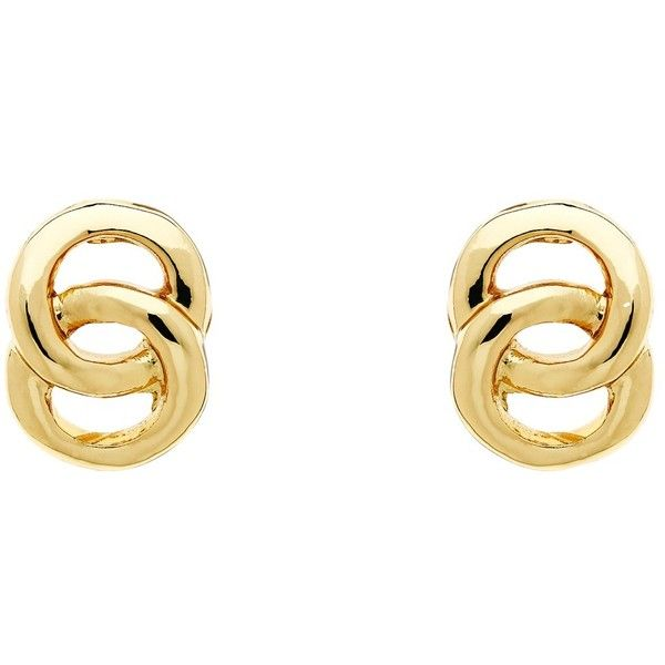 Monet Double Ring Stud Earrings Gold 31 Liked On Polyvore Featuring Jewelry