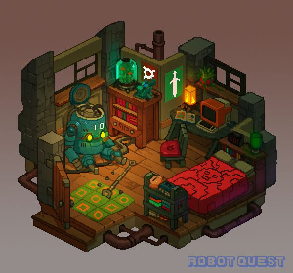 Robot Quest Player Room by Nerd-Scribbles