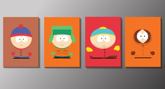South Park Inspired Poster Print - Stan, Kyle, Cartman, Kenny | Four Set Print | Digital Download | Wall Art | TV Show Art | Minimalist
