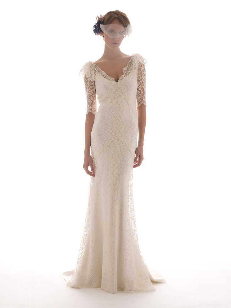 Lace, Long Sleeved Wedding Dress by Elizabeth Fillmore - SANDRINE