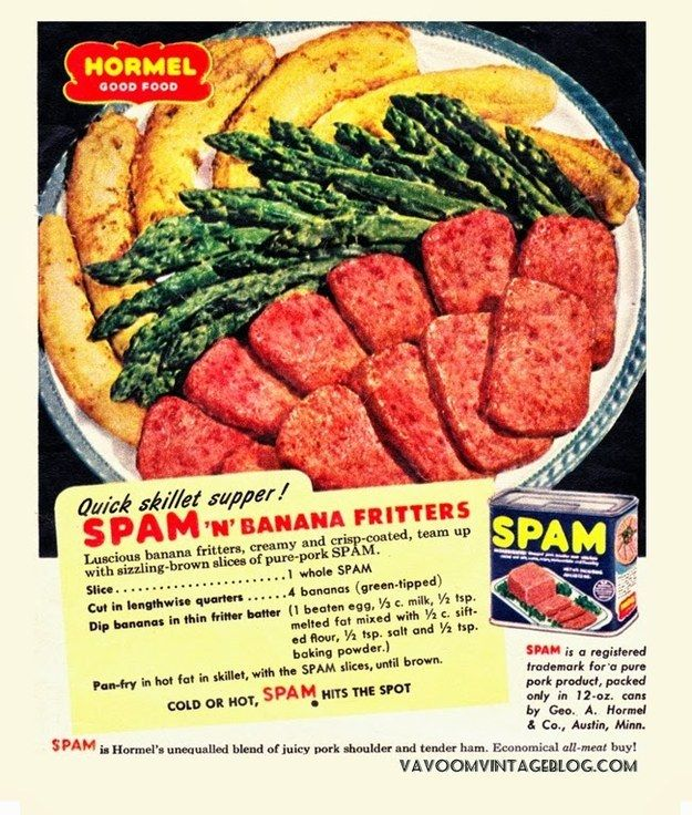 Spam and banana fritters.People in the past did not deserve bananas | 24 Absolutely Horrendous Vintage Recipes