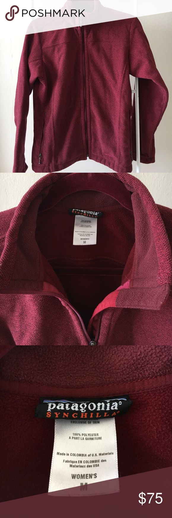 Patagonia Synchilla Jacket Perfect condition. 100 % polyester with fleece lining. Super warm and well insulated. Maroon color. Patagonia Jackets & Coats