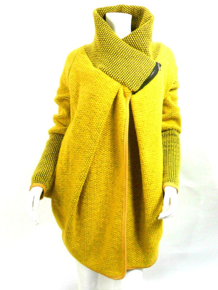 !NEW Valentines Womens Lagenlook Italian Wool Cocoon Coat One Size 12-18 Mustard design inspiration couture fashion high neck cape coat with asymmetric drape, and textural stitching en trend 2015 for all those layering day wear knit styles must work out how to make one