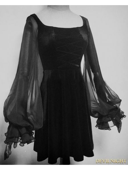 Black Velvet Long Sleeves Short Gothic Dress