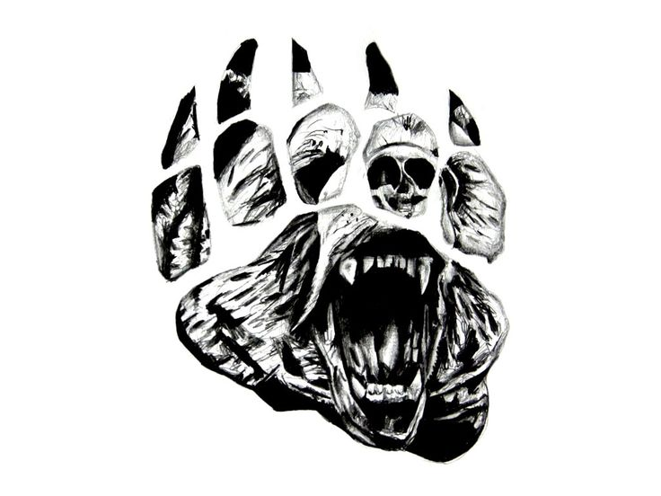 Tribal Bear Paw Prints Tattoo On Biceps photo - 4