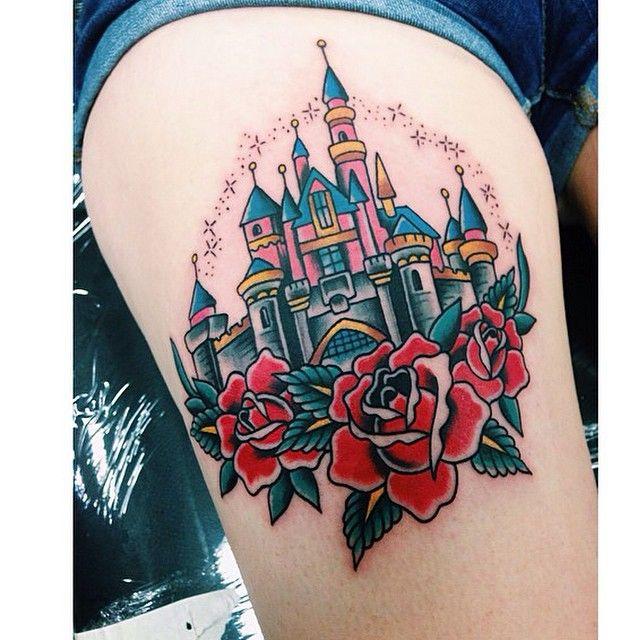 """The castle on @laroja_jess by @alvin_aldridge! #disneytattoos #disneytattoo…"