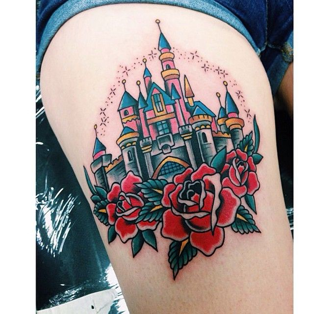 """The castle on @laroja_jess by @alvin_aldridge! #disneytattoos #disneytattoo…"