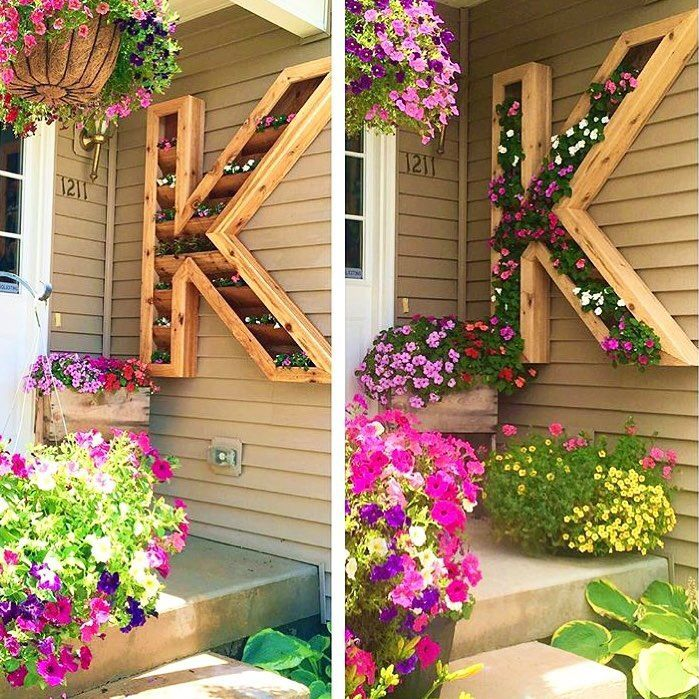 last name letter home decor outside of front door plant the flowers in wooden letter - Outdoor Home Decor Ideas