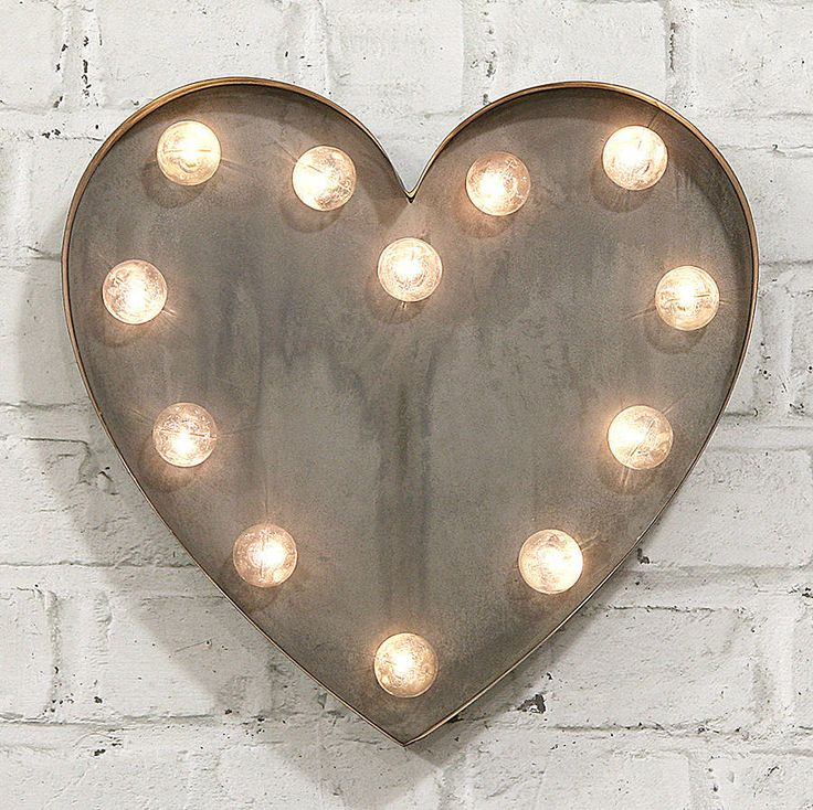 'Heart' LED Carnival Light. Great hung for a wall feature or freestanding on bookcase or shelf. Ideal for displays, parties and events.