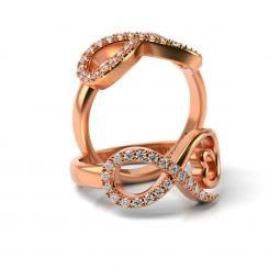 Inel de logodna cu diamante Oscar din aur roz
