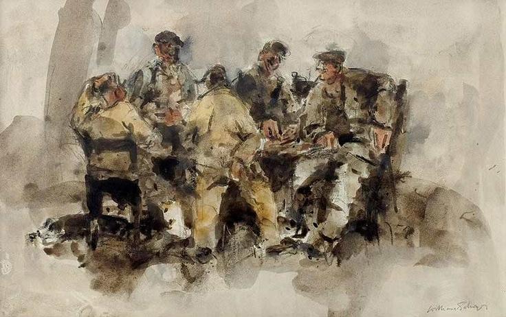 """William Selwyn. 'Sheep Dog Trials' watercolour. 10"""" x 16"""""""