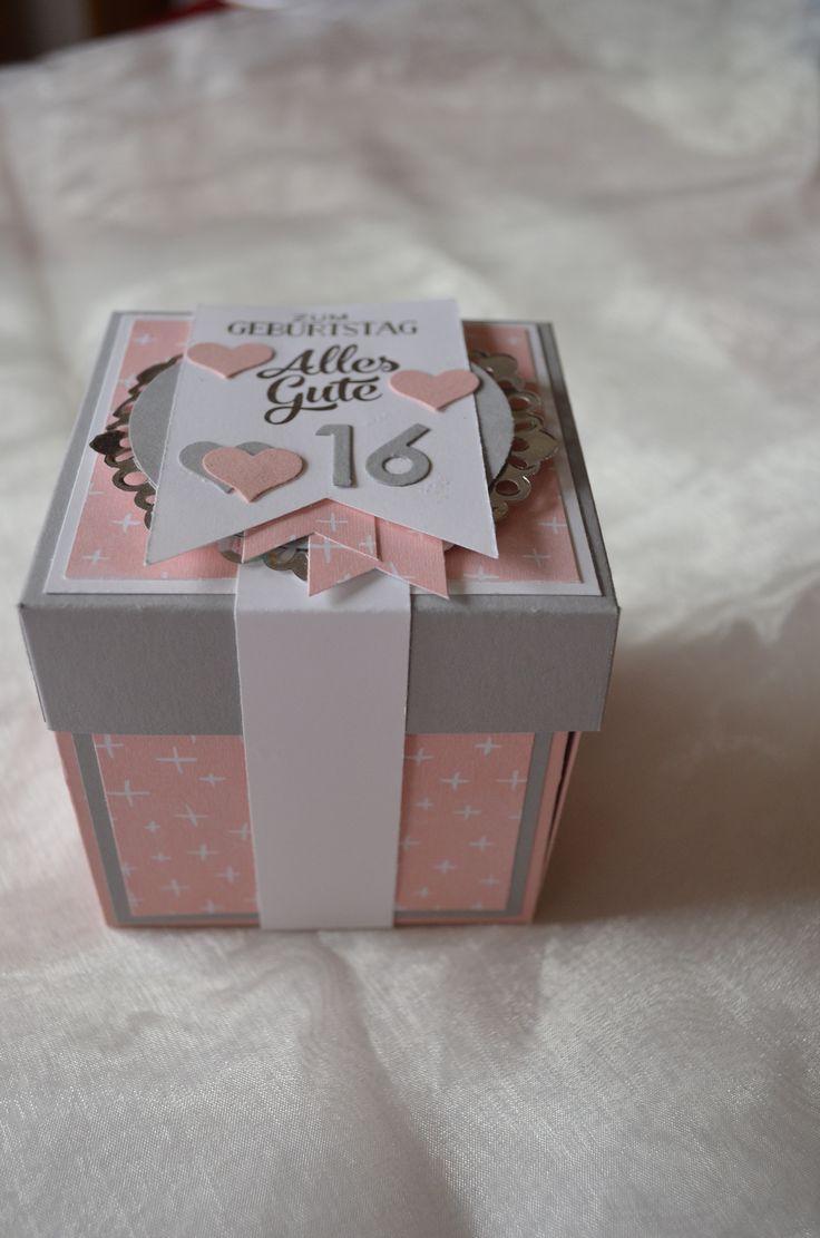 Explosionsbox zum 16. Geburtstag in Kirschblüte/Schiefergrau/Flüsterweiß