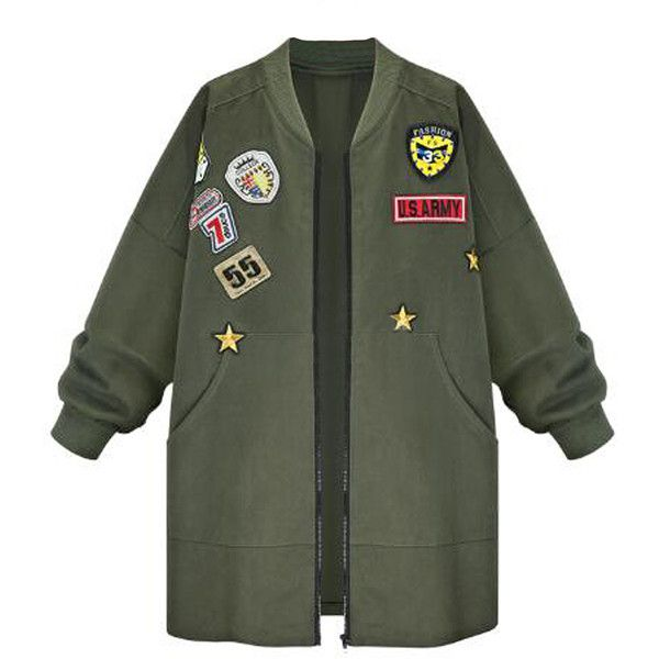 Army Green Patch Embroidery Jacket (110 BRL) ❤ liked on Polyvore featuring outerwear, jackets, casacos, tops, olive jacket, green military jackets, green camo jacket, embroidery jackets and olive green jacket
