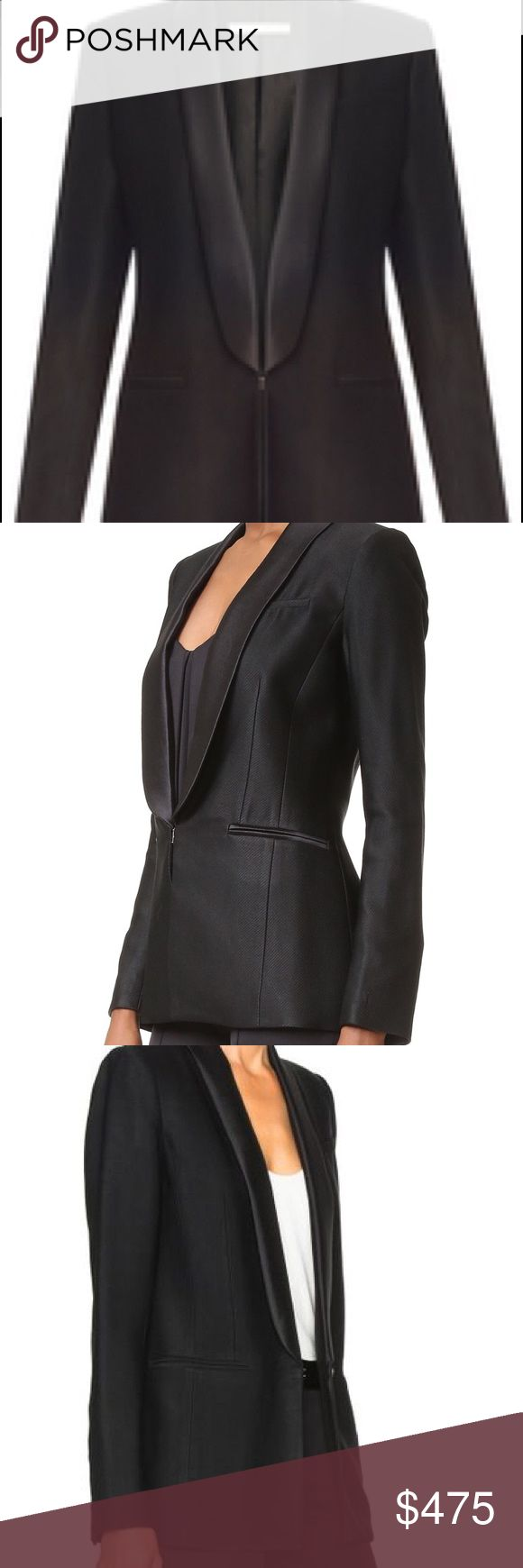 Veronica Beard Black Glastonbury Tuxedo Jacket sz8 Impeccable condition-listing as NWT because this jacket was worn one time for no more than 45 minutes. Beautiful and sophisticated.  Appropriate for all year wear.  Hook closure at front.  Buttoned cuffs.  Shawl collar.  3 pockets.  Purchased on VB website at full retail price $695.  Tags/receipt/extra buttons all included.  The back vent is still sewn so you can see that this jacket has not been worn out of my house! 😊 Veronica Beard…