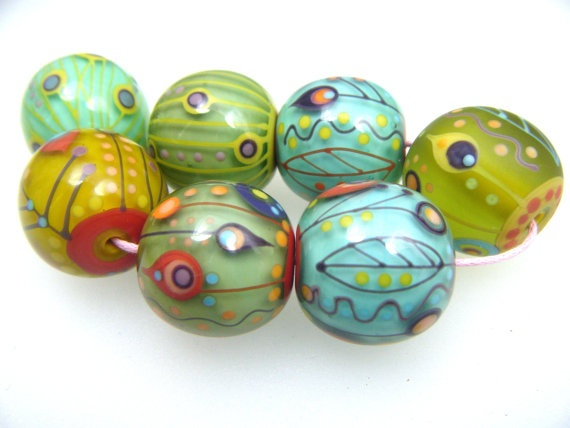 moogin pastel retro round lampwork bead set 20mm sra