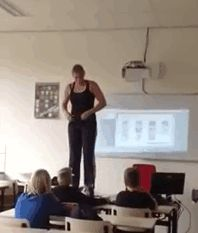Debby Heerkens, a biology teacher at the Groene Hart Rijnwoude school in the Netherlands, came up with a truly memorable way to educate her students. She stood up on her desk and stripped off her clothes to reveal a full suit of spandex illustrated with accurate muscles and organs. Below that, another set of spandex illustrated where all the bones in her body are.