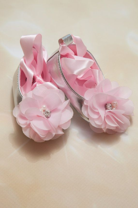 Baby Girl Silver Shoes Silver Ribbon Tie Shoes by MyLolliflopsLLC