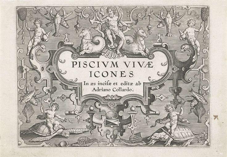 Titelprent met zeewezens als ornamenten, Adriaen Collaert, na 1598 - 1618