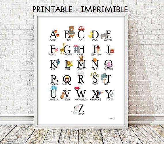 laminas infantiles,abecedario ingles,abc ingles,cuadros infantiles,cuadros animales,alfabeto INGLES laminas imprimibles,5 TAMAÑOS INCLUIDOS