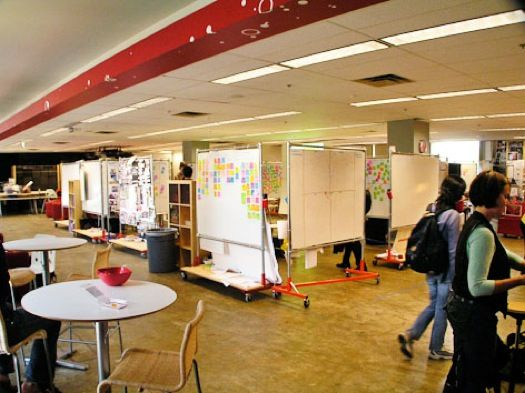 Stanford d.school students design budget-friendly movable whiteboard structures.