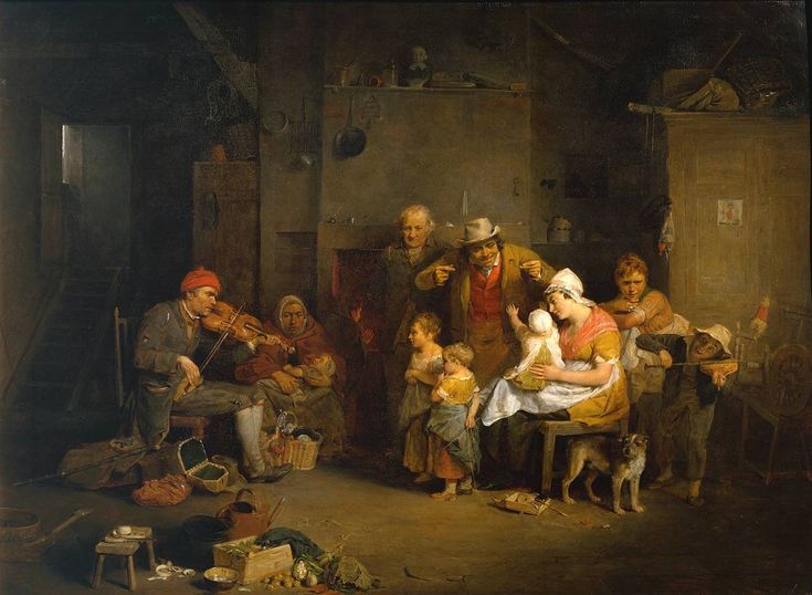 The Blind Fiddler (1806). Sir David Wilkie (Scottish, 1785-1841). Oil paint on mahogany. Tate. An itinerant fiddler is playing for a humble country family. When this picture was exhibited at the Royal Academy some critics thought the bust on the shelf represented a dissenting minister, and concluded that the family were nonconformists. The power of music to stir the passions of those supposedly suspicious of pleasure was thought to add to the painting's subtlety.