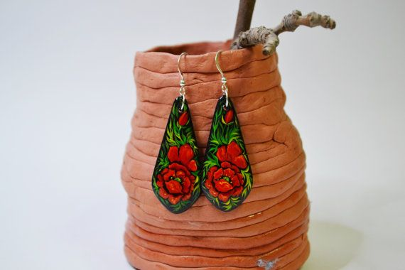 Wooden Earrings Hand painted Ukrainian style by IGORartPAINTING