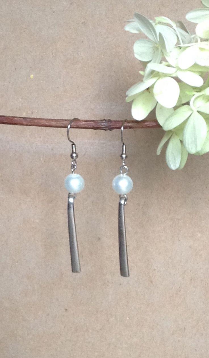 Vintage Fork Tine Earrings...Vintage Silverware...Pearl Earrings...Dangle Earrings... by 1840VintageLnJewelry on Etsy