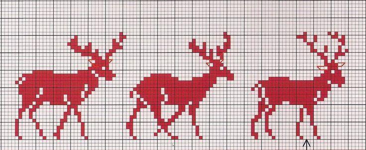 Cross Stitch Chart Christmas Deer / Kreuzstich Vorlage Rentier Elch Weihnachten Winter