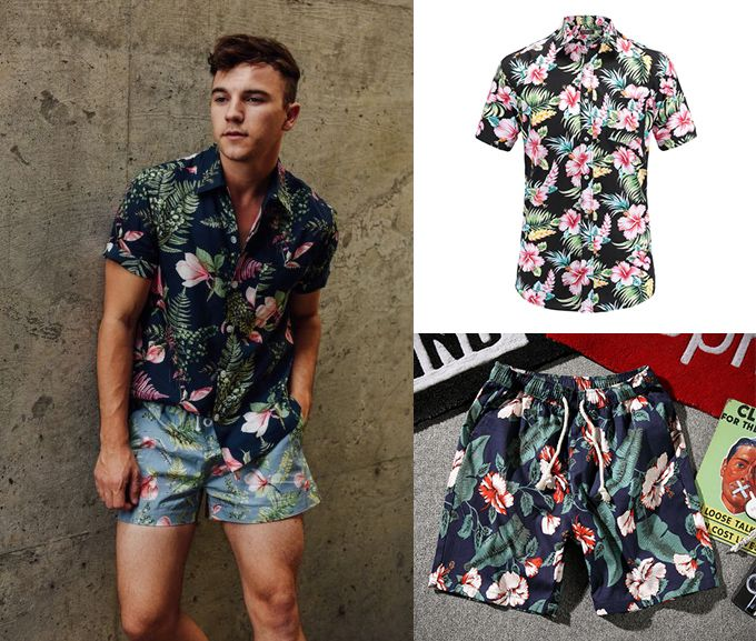 84f49260fe Conjunto floral com shorts e camisa masculina de manga curta ...
