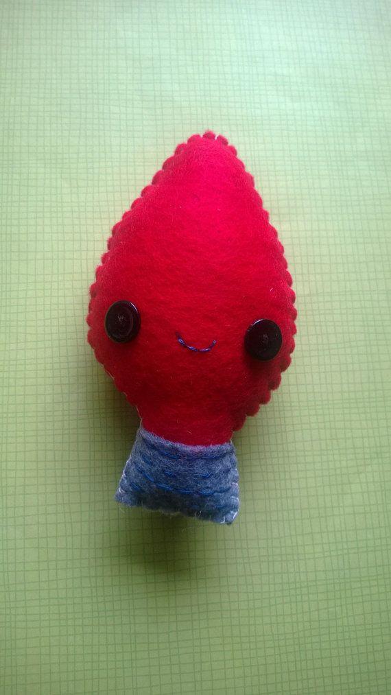 Kawaii Christmas Tree Red Light Bulb Plush Stuffed by MyWillies, $8.00