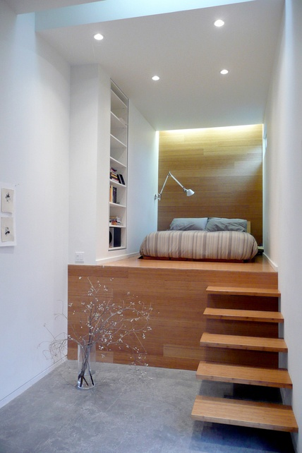 Elevated bed with stairs. Unique way to use a weird space | Home |  Pinterest | Elevated bed, Spaces and Bedrooms