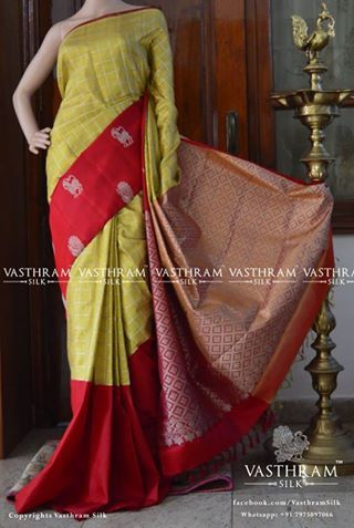 A very beautiful pure kanchivaram korvai tissue silk saree maroonish Red pallu with Peacock motif Heavy work pallu with tissue blouse Code: A0817SS152820 Cost: 18800 inr Whatsapp:+91 7019277192 Status: Available
