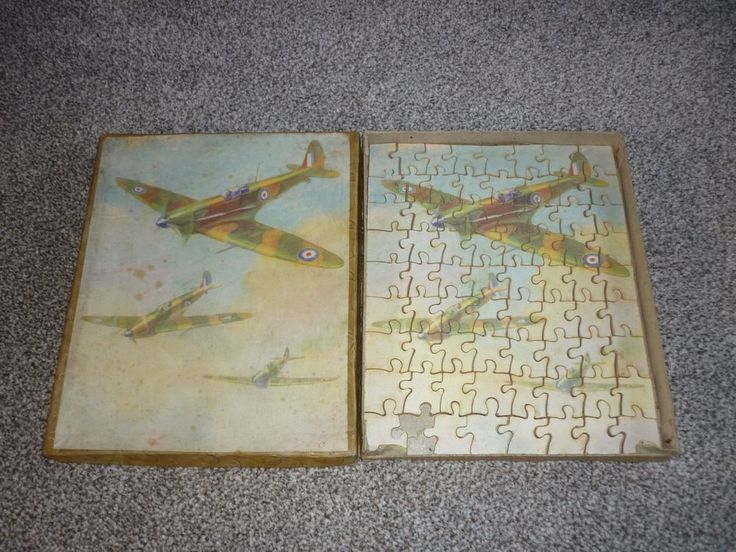 vintage ww2 spitfire wooden jigsaw puzzle boxed 1940s