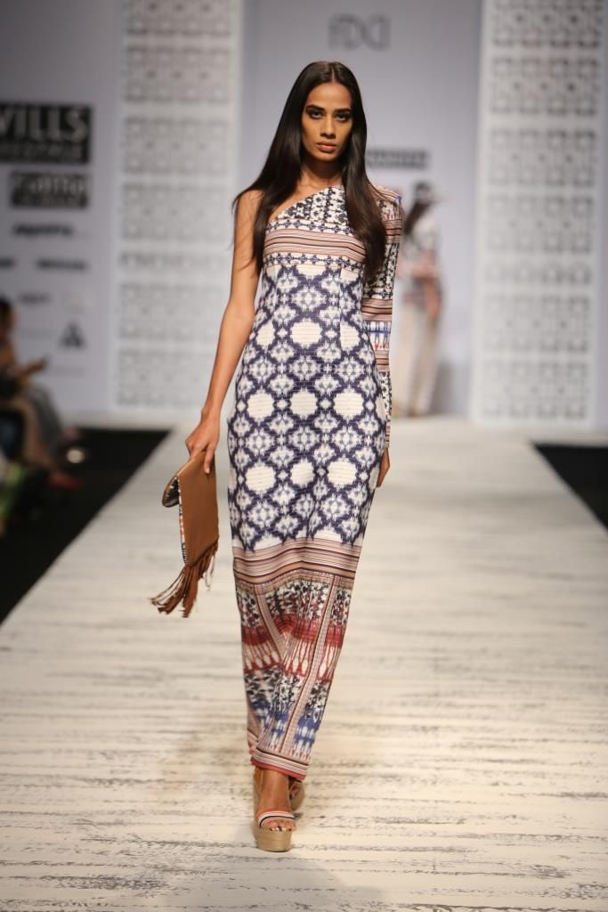 knot vivid lines print Indian inspired maxi dress