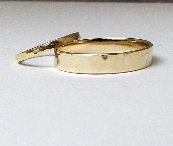 Wedding Band Set Gold Wedding Rings Hammered Gold Ring Set 14k Engraved Simple Wedding Bands Comfort Fit Wedding Rings