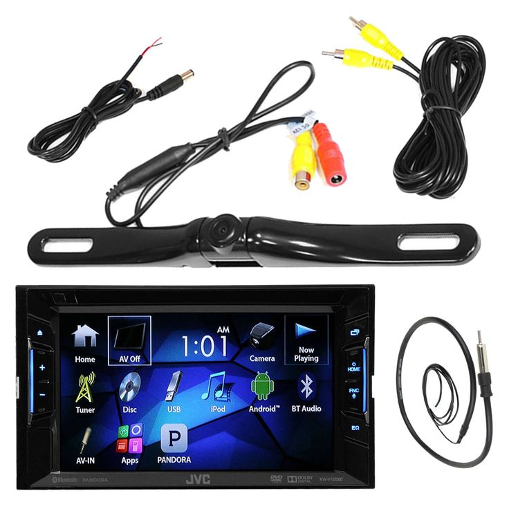 """JVC KWV120BT 6.2"""" Inch Touch Screen Car CD DVD USB Bluetooth Stereo Receiver Bundle Combo With License Plate Mount Rear View Colored Backup Parking Camera, Enrock 22"""" AM/FM Radio Antenna. PACKAGE BUNDLE KIT INCLUDES: 1 JVC KWV120BT DVD/CD/USB Bluetooth Car Marine Bike Outdoor Powersport Vehicle USB AUX AM/FM Radio Receiver = 1 Pyle PLCM18BC Rearview backup camera = 1 Enrock Wired Marine Grade Antenna. STEREO RECEIVER UNIT: Stay entertained in your vehicle with this JVC KWV21BT in-dash A/V..."""