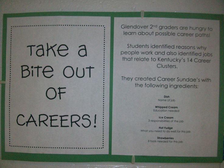 Elementary School Guidance Lessons: Take a bite out of careers is one cool example of lessons..