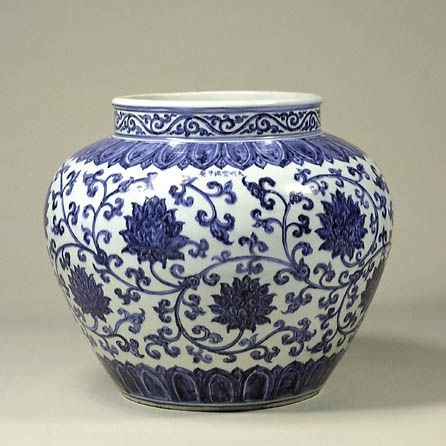 Blue-and-White Jar with Baoxiang-hua Scrolls Design, Ming Dynasty, Xuande Mark and Period (1426-1435), h.35.8cm. Gift of SUMITOMO Group, the ATAKA Collection. Acc. No. 10885. The Museum of Oriental Ceramics, Osaka. © 2009 The Museum of Oriental Ceramics, Osaka.