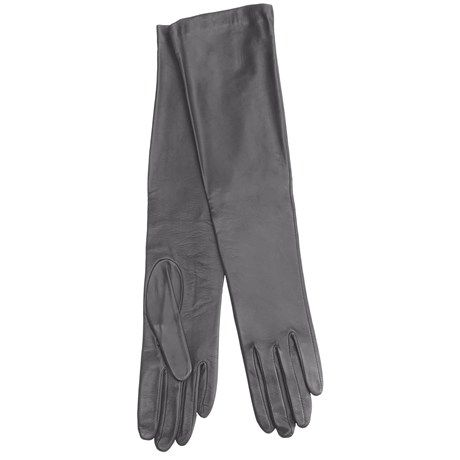 Cire by Grandoe Beauty Sheepskin Gloves - Silk Lining (For Women) in Grey