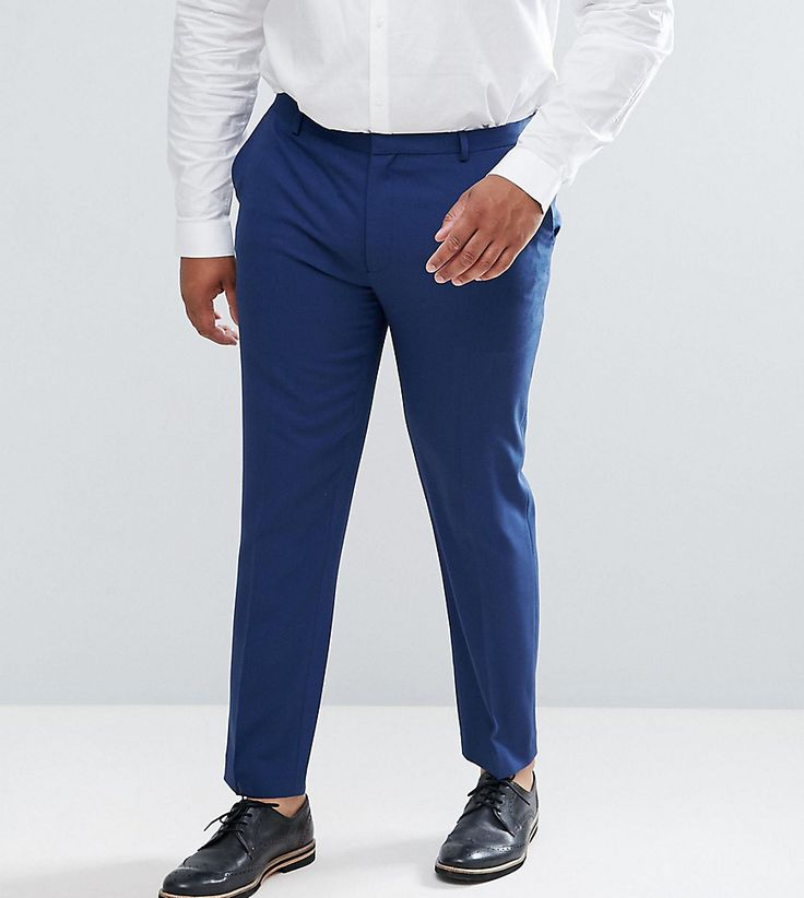 ASOS PLUS Wedding Skinny Suit Pants In Navy Cross Hatch - Navy