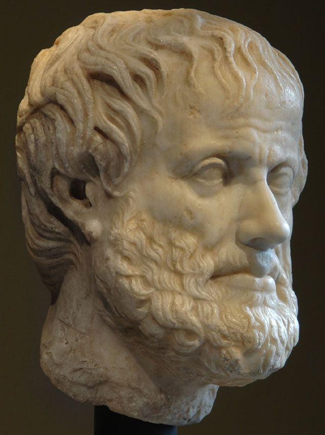 Aristóteles, la cabeza de la estatua romana (mármol), copia después de la original helenística, siglo 1 DC (4ª originales c. C.), (Kunsthistorisches Museum, Viena).