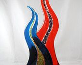 Fused Glass Sculpture with Exotic Wood Base