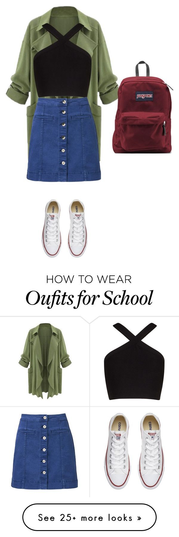 """Back to school"" by classy179 on Polyvore featuring BCBGMAXAZRIA, Witchery, Converse and JanSport"