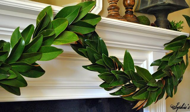 Magnolia leaf garland....coat each leaf with future floor wax to preserve for weeks!