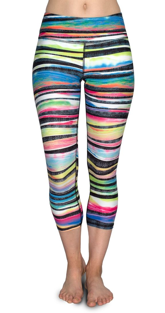 """These awesome multi-coloured crops are sure to brighten your day and put some pep in your step. As always the SI exclusive activewear fabric wicks away moisture, doesn't stretch out, fade out, or otherwise wimp out. We know how hard you work and these crops promise to work just as hard to keep you looking good, even during your most intense work out. y  Non-sheer 8-way-stretch 10"""" rise holds everything in Activewear crop"""