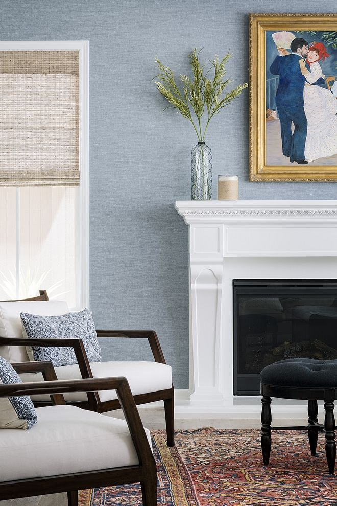Light Blue Grasscloth Wallpaper Living Room With White Trim And