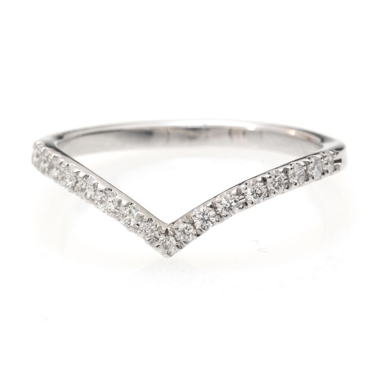 Chevron Diamond Ring/ Diamond V-Ring with Pave Diamonds / Diamond Wedding Band - Gold & Diamond Ring