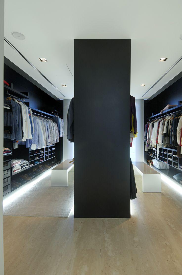 gorgeous floor level lighting in a walk-in wardrobe/dressing room
