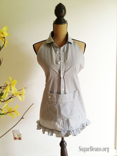 Men's Shirt Apron by Sugar Beans - Don't throw out those cotton men's shirts!