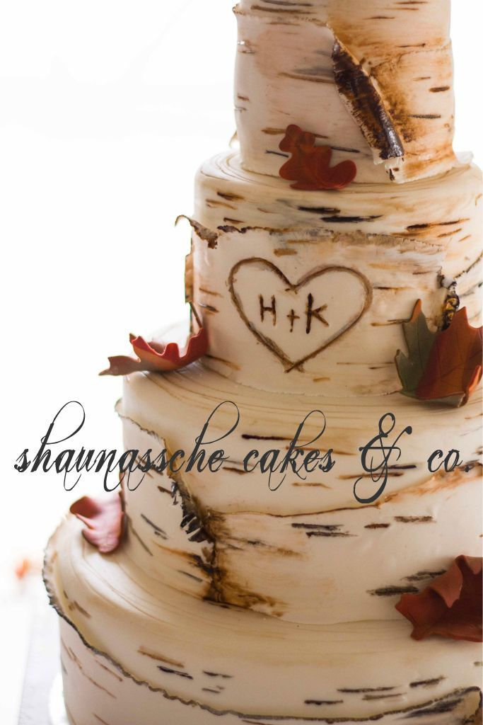 shaunassche cakes & co.   Birch Tree  Wedding Cake would be oerdext for us cause our first date he carved are names into a tree <3